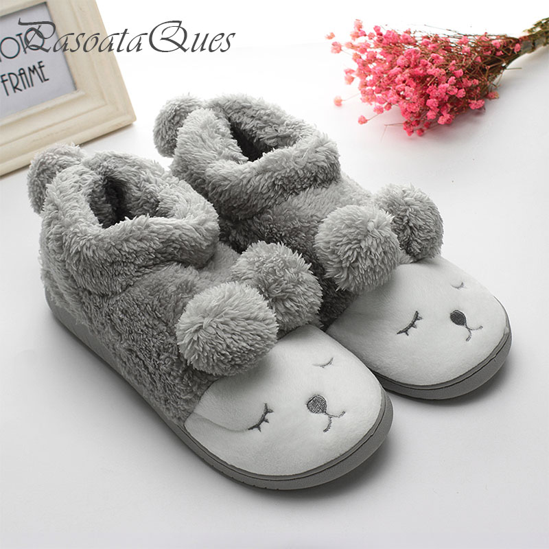 Cute Sheep Warm Winter Women/men Couples Home Slippers For Indoor House Bedroom Plush Shoes Soft Bottom Flats Christmas Gift cute sheep animal cartoon women winter home slippers for indoor bedroom house warm cotton shoes adult plush flats christmas gift