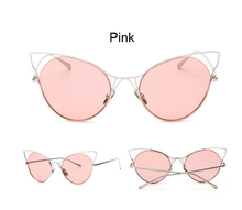 Fashion Cat Eye Sunglasses Women Classic Brand Design Vintage Coating Mirror Flat Panel Lens Sun Glasses For Women