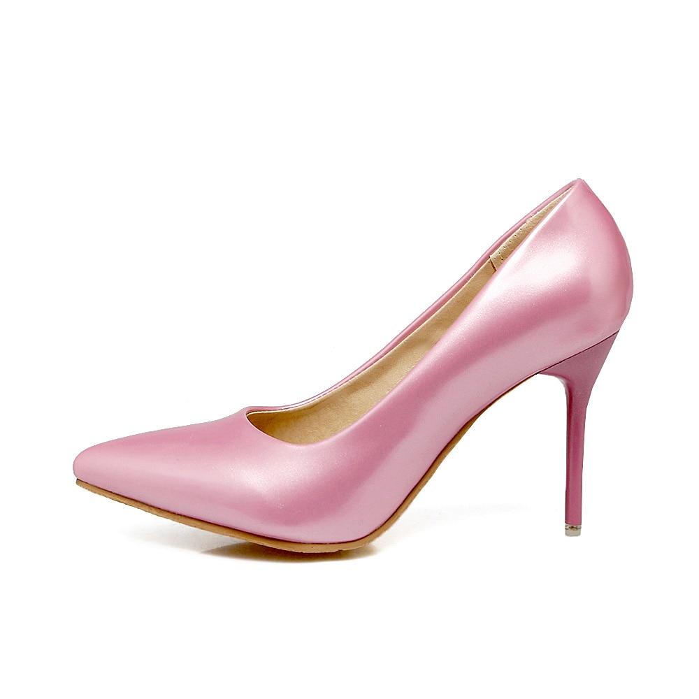 купить 2017 Brand New Sexy Red Pink Women Glossy Bridal Pumps Black Green Stiletto Heel Lady Nude Shoes EG66 Plus Big Size 10 30 43 48 недорого