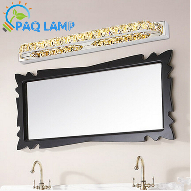 LED Mirror Lamp  ellipse Stainless steel shell and crystal Waterproof rustwall Bathroom Light ceiling Lamp AC90V-260V dvolador luxury crystal led mirror front light 10w 15w ac110 220v bathroom waterproof anti fog led stainless steel wall light