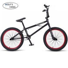 Wolf fang 20 Zoll BMX stahlrahmen Leistung Bike lila/rot reifen bike für zeigen Stunt Akrobatische Bike hinten Phantasie straße fahrrad