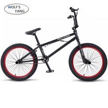 Wolf's fang 20 дюймов BMX стальная рама Производительность велосипед фиолетовый/красный шины велосипед для шоу трюк Акробатический велосипед задний причудливый уличный велосипед