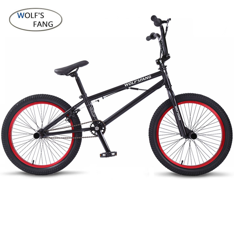 wolf's fang 20Inch BMX steel frame Performance Bike purple/red tire bike for show Stunt Acrobatic Bike rear Fancy street bicycle