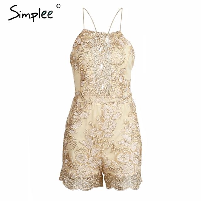 Simplee Sparkling summer jumpsuit romper Strap floral gold elegant jumpsuit women playsuit Backless hollow out short overalls