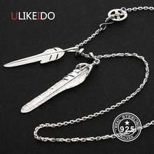 Solid 925 Sterling Silver Feather Necklace For Men Vintage Charms Takahashi Eagle Pendant Eagle Chain New Popular Jewelry P6