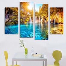 4PCS nature waterfall diy Diamond Embroidery Picture of Rhinestones Triptych Almaznaya Mosaic Cross Stitch Painting 5d