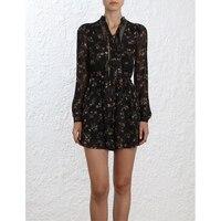 Women's Black Floral Print Long Sleeve Front Tie Hollow Soft Viscose Lace Jumpsuit and Jumpsuit Belt