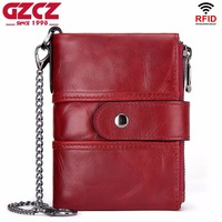 GZCZ rfid Female wallet Fashion Women Genuine Leather Wallets Short Purses Zipper Coin Purse Portomonee Clamp bag For Money 2019