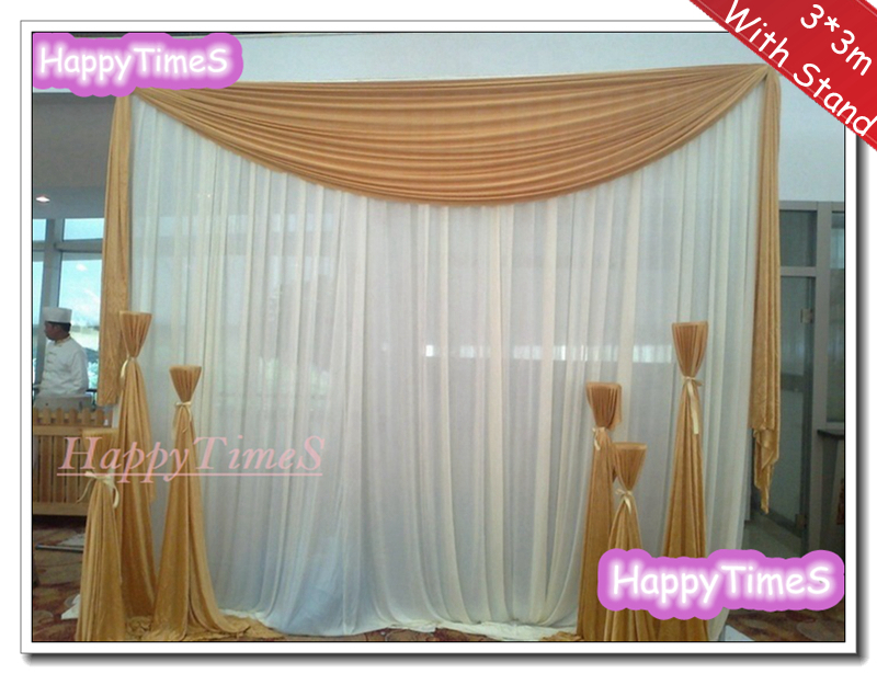 3*3m Wedding Curtain Backdrop Drapes With Brown Swag On The Top And Matched  Stainless Steel Stand