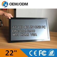 "22 "" fanless noiseless industrial all in one pc with J1900 2GB DDR3 500G HDD 1680X1050 industrial computer with touch screen"