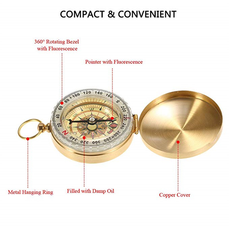 2in1 Outdoor Camping Hiking Compass Key Ring Snap Hook KeyChain Survival ToolM/&C