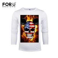 FORUDESIGNS New Casual T Shirt Mens Long Sleeve Casual Top Tees Cool Skull Head Pattern T