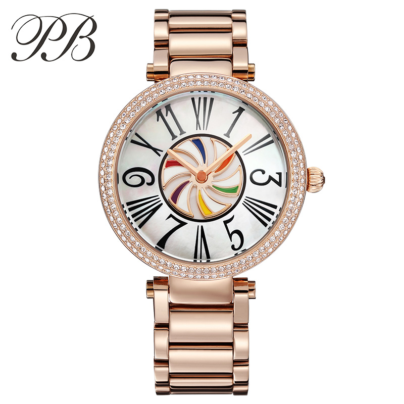 PB princese tauriņš modes dāmas skatīties zelta pārklājumu rokassprādze kristāla krāsains un romiešu skaits kvarca sieviešu pulksteņi HL638