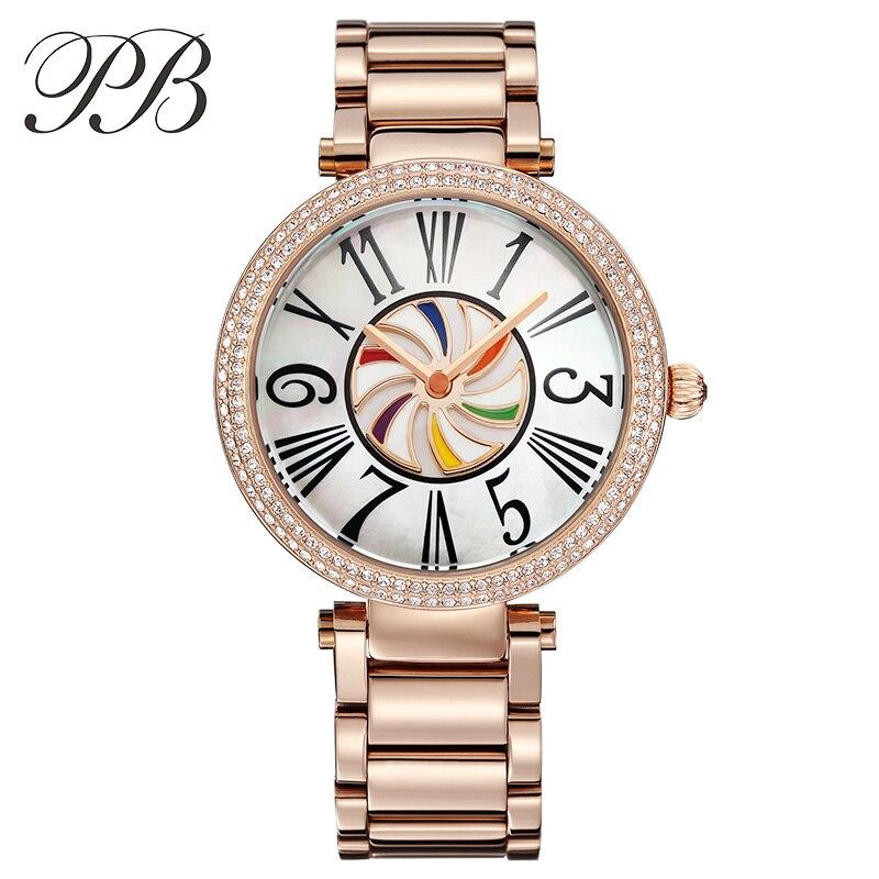 PB marque de luxe montre femme en acier inoxydable coloré moulin à vent et chiffre romain cristal Quartz étanche dames montres etanche luxury brand watch women orologio donna часы
