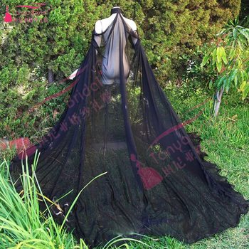 Black chiffon Cape Long elegant Fashion High Neck bolero novia boleros for the wedding Jacket For Women Cheap  Z901 1