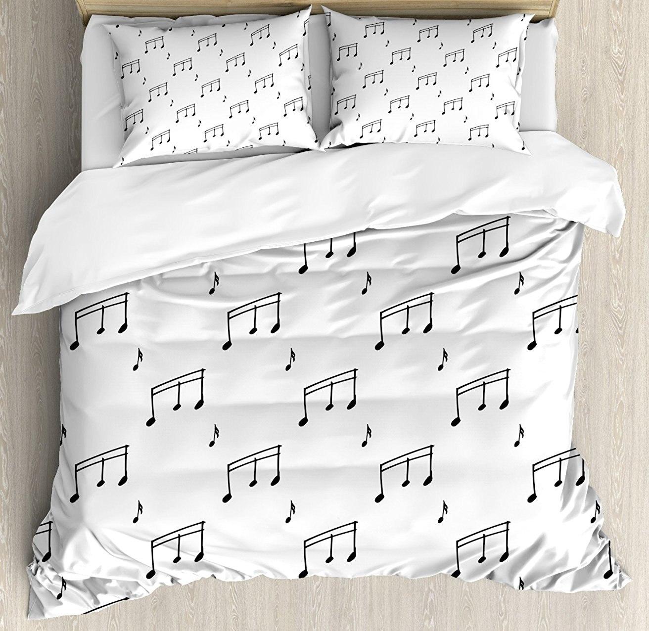 Музыка постельное белье музыкальные ноты тема Melody Sonata песни петь скрипичный ключ мелодии рисованной Стиль узор 4 шт. Постельное белье