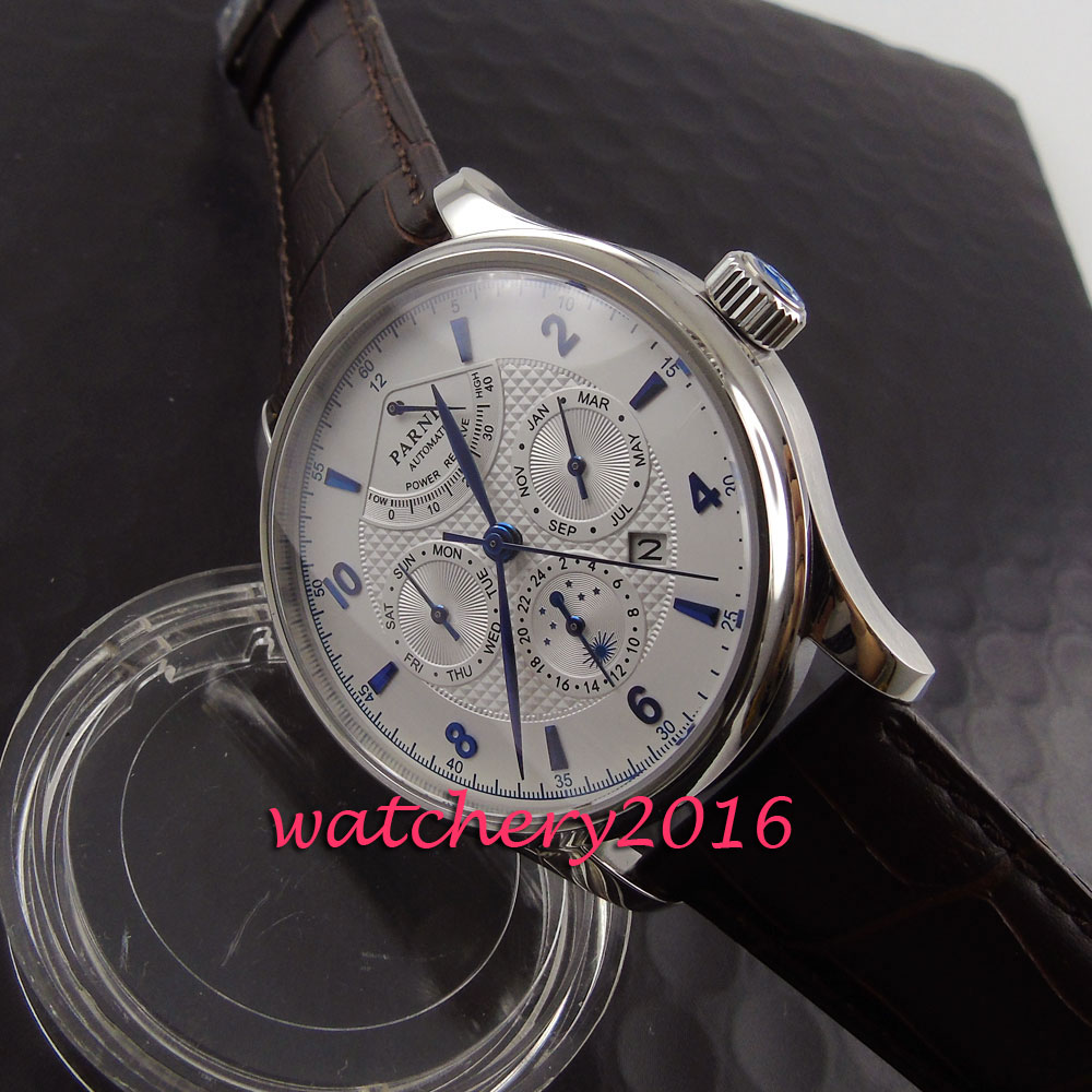 Fashion mm parnis white dial blue numbers Automatic AMen s business Watch