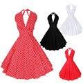 Plus tamaño de las mujeres hanging neck dress 1950 s 60 s columpio rockabilly hepburn estilo de cintura alta sin respaldo grande bola vestido retro dress