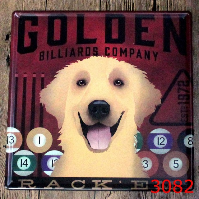 30X30CM GOLDEN DOG CUTE WITH MUSIC Home Decor Tin Sign for Wall ...