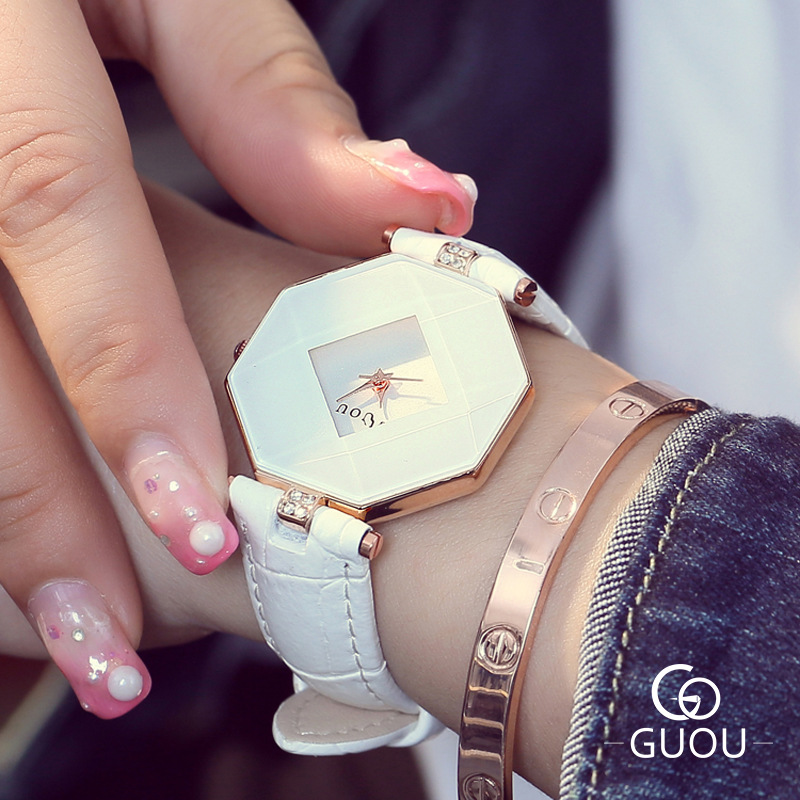 GUOU Top Brand Watch Women Watches Luxury Diamond Watch Fashion Ladies Watch Leather Strap Quartz Clock Hour relogio feminino