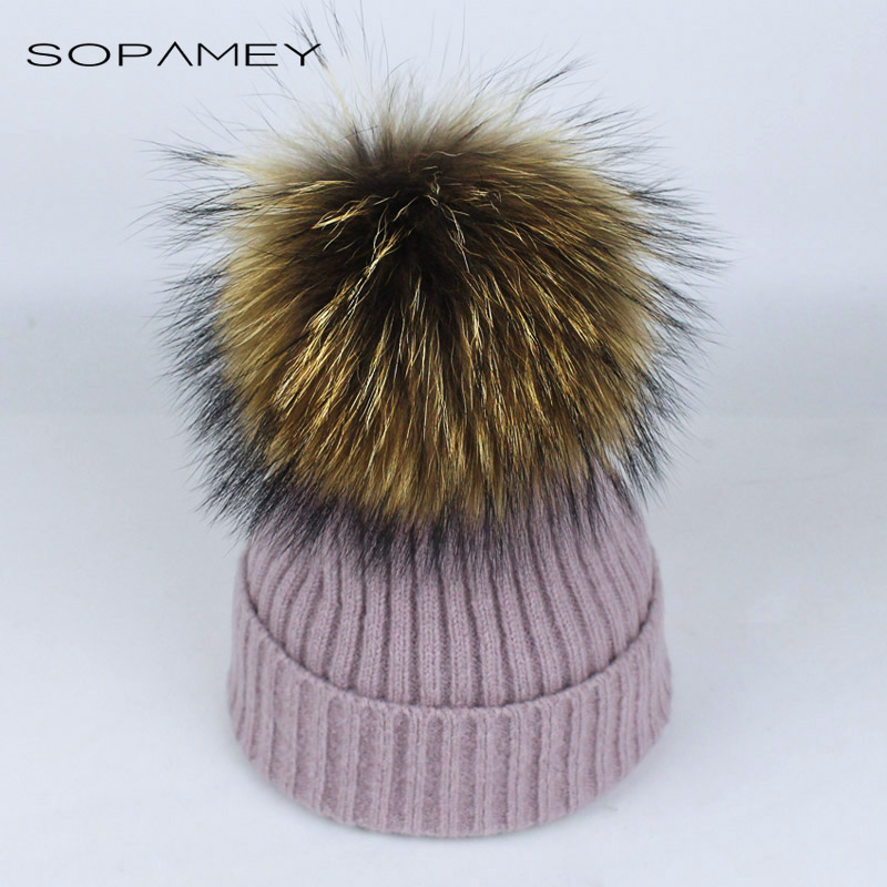 2017 Raccoon Fox Fur Pom Poms Hat Female Women Warm Knitted Casual High Quality Vogue Winter Hats Skullies Beanies Bones Gorros 2017 winter fur hat female rex rabbit fur hat with fox fur pom poms fur knitted beanies fashion high quality caps for women hats