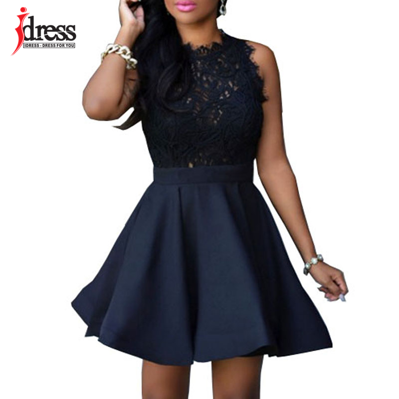 202718f33b23f US $25.98 |IDress Elegant Black White Lace Spring Summer Dress Sleeveless  Turtleneck Women Dresses 2017 Short Party Casual Skater Dress-in Dresses ...