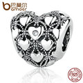 BAMOER New Romantic 925 Sterling Silver Club Charm 2017, Heart Charms Fit Bracelets & Bangles DIY Fine Jewelry PAS367
