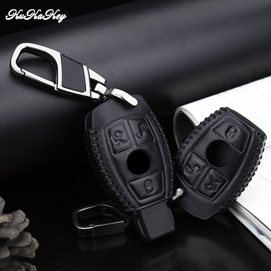 KUKAKEY Leather Car Key Case Cover Shell Fob Bag For Mercedes Benz W203 W210 W211 W124 W202 W204 AMG C E S Best Festival Gift