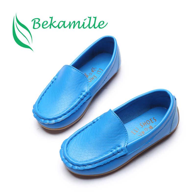חדש אופנה ילדי נעלי גודל 21-36 ילדי עור מפוצל תינוק נעלי בנים/בנות סירת נעלי להחליק על רך 8 צבעים SY068