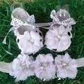 Bebé decoración del partido zapatos de las niñas bautismo Diadema set, flores Rhinestone zapatos de bebé, aby babykids perla sapatos zapatillas