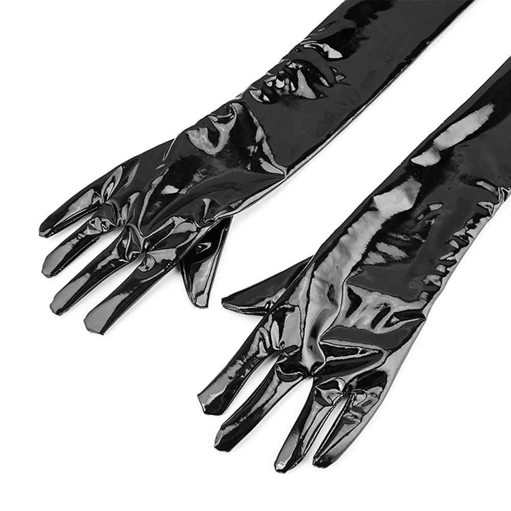 Ни одно пикантное белье из кожи блестящие длинные перчатки Фетиш клубный костюм фетиш бондаж кляп