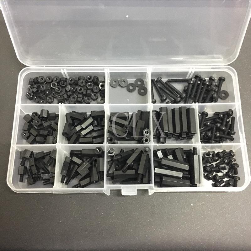 260Pcs/Set M3 Nylon Hex Spacers Screw Nut Stand-off Plastic Parts Plastic Standoff Set Black Kit Sample Box For Raspberry Pi