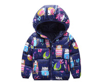2017 Winter Kids Boys And Girls Thick Warm Outerwear Coat Children Cotton Cartoon Graffiti Hooded Jackets