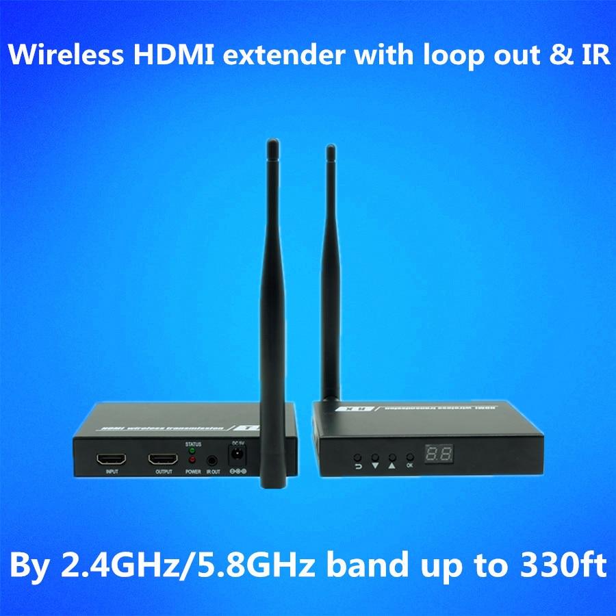 328ft Wireless Loop Out IR HDMI Splitter Extender 1080P Wireless HDMI Audio Video Transmitter font b