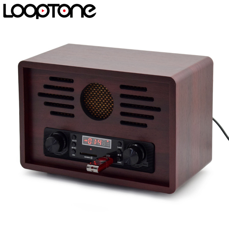 цена на LoopTone Tabletop USB AM/FM Hi-Fi Radio Vintage Retro Classic Radio W/ Built-in Speaker FM Recorder Wooden 110~130V & 220~240V
