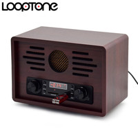 LoopTone Tabletop USB AM/FM Hi Fi Radio Vintage Retro Classic Radio W/ Built in Speaker FM Recorder Wooden 110~130V & 220~240V