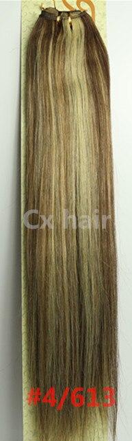 #4/ 613 161820222426283032silk soft remy brazilian human hair extensions human hair weft weaving 100g/pcs