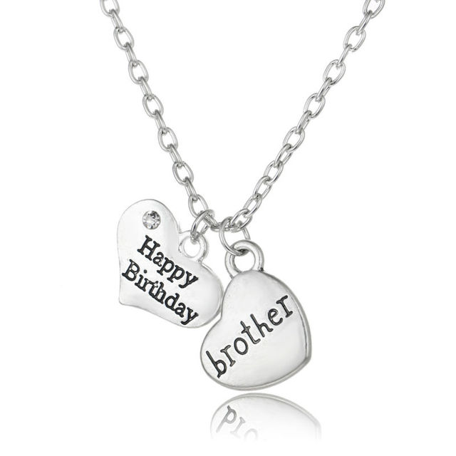 Happy birthday double heart crystal brother silver plated chain happy birthday double heart crystal brother silver plated chain pendant necklace mens jewelry bro best frend aloadofball Gallery
