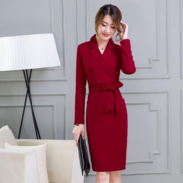 2018 automne nouveau à manches longues avec ceinture vendu tenue vêtements pour femmes OL robe vêtements d'affaires robes de conception vestido taille S-3XL