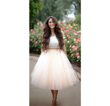 Lovely Nude Pink Tulle Skirts Puffy Ball Gown 7 Layers Tulle One Lining Tea Length Plus Size Bolsos Saias Femininas Adult Skirts
