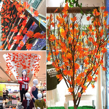 Artificial Flowers Maple Leaves Rattan Simulation Decorative Silk Fake Fall For Home Wedding Party Decor