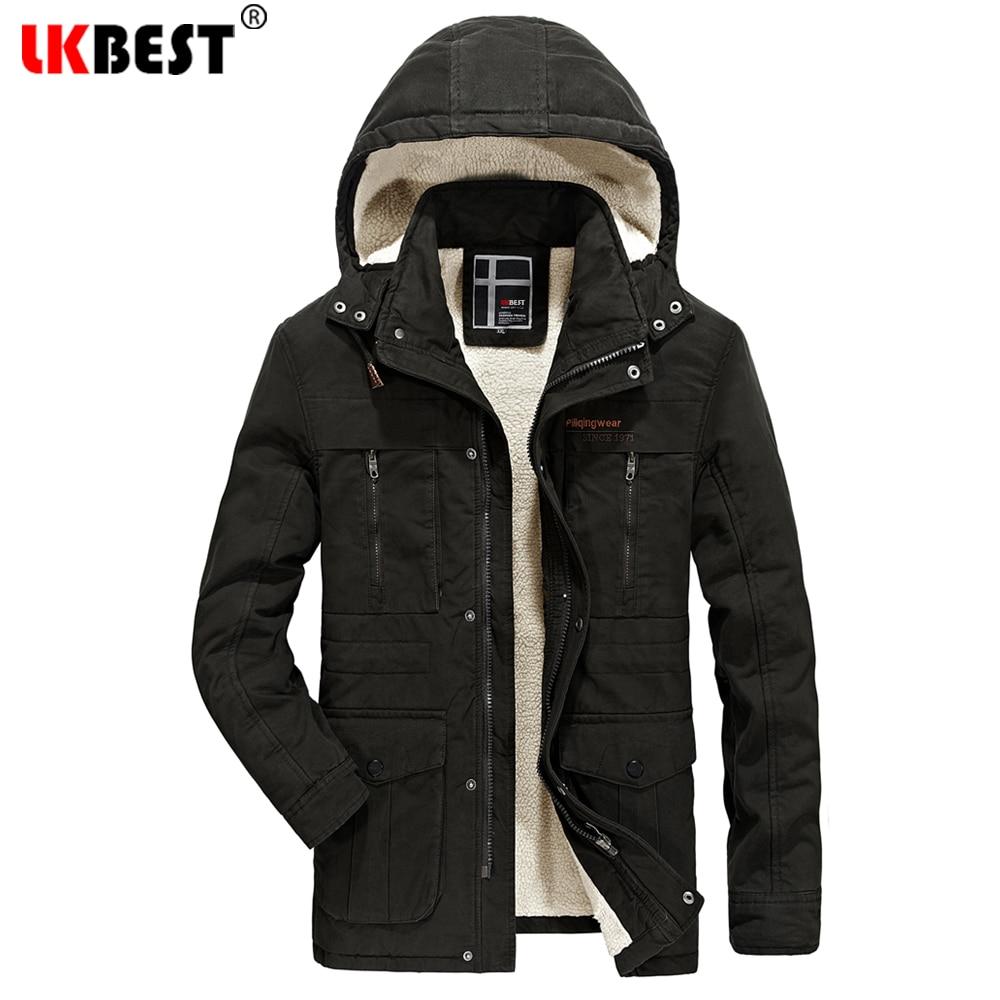 цена LKBEST 2017 New thick Winter Coat male Comfoatable Wool Liner Winter Jacket Men Large Size Men Parka hooded Overwear (PW641) онлайн в 2017 году