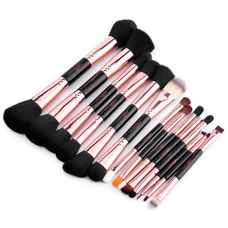 MSQ Professional Makeup Brushes Set Rose Gold Tube Double Ended Cosmetic Make Up Brush Foundation Beauty Tool PU Leather box msq 15pcs professional makeup brushes set foundation fiber goat hair make up brush kit with pu leather case makeup beauty tool