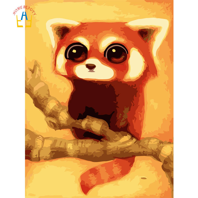 HOME BEAUTY Cute Animal DIY Digital Painting By Number Drawing Paint By Numbers Wall Art Unique Gift for Children Decor A029-2