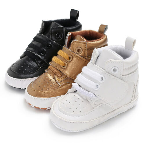 3 Colors Baby Boy Girl Shoes PU Leather Ankle Boots Crib Shoes Fashion Solid Color Lace Up Anti-slip Half Sneaker Shoes 0-12M
