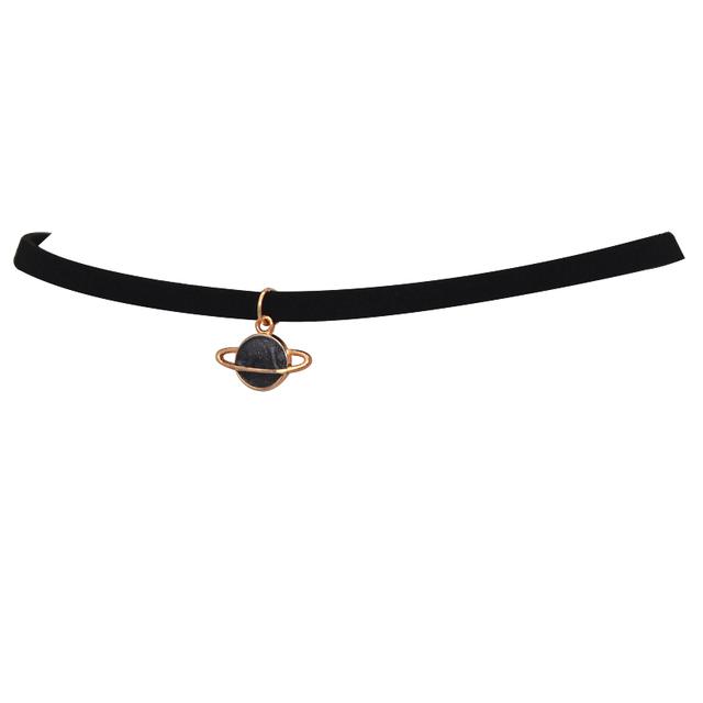 Fashion Maxi Torques Black Velvet Leather Geometric Circle Planet Pendants False Collar Chokers Necklace Women Jewelry 2018 Gift