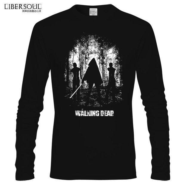 New Fashion The Walking Dead T Shirt Cotton Free Shipping Long Sleeve Round Neck TOP Cotton Michonne Movie Play t-shirt