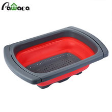 Silicone Collapsible Colander Fruit Vegetable Food Strainers with Extendable Handles, Space-Saver Folding Strainer for Kitchen