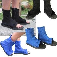 Anime Naruto Konoha Ninja Dorf Schwarz Blau Sandalen Stiefel Cosplay Kostüme Schuhe