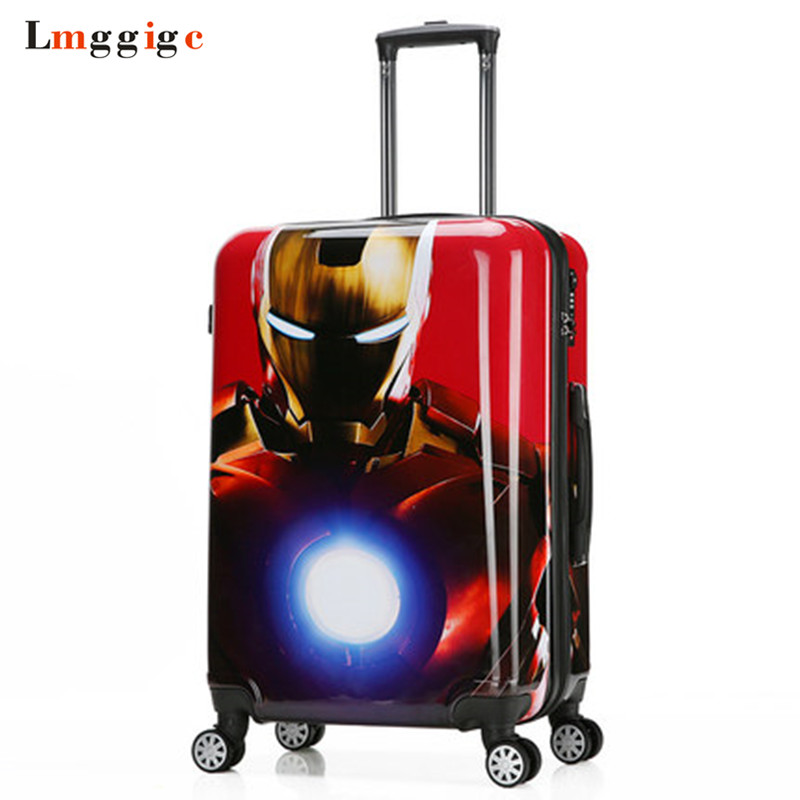 Spider-Man Luggage bag,Batman Suitcase, Child's Travel Box,Captain America Trolley ,Iron Man Cabin Case,Kids Rolling Carry-On